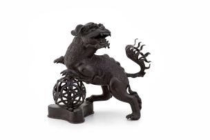 A Chinese bronze incense burner in the form of a Dog of Fo, 19th century