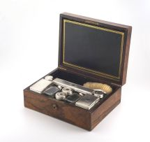A Victorian rosewood and silver-mounted 'Necessaire de Voyage', 19th century