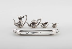 An Elizabeth II silver miniature five-piece tea service, John Rose, Birmingham, 1956