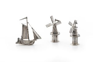 A pair of Dutch silver miniature windmills, late 19th/early 20th century, .833 standard