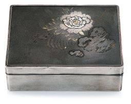 A Japanese shibuichi, silver and gold covered box, late 19th/early 20th century