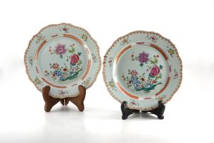A pair of Chinese famille-rose plates, Qianlong (1735-1796)