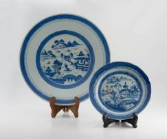 A Chinese blue and white Nanking dish, late 19th century