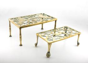A pierced brass trivet, late 19th/early 20th century
