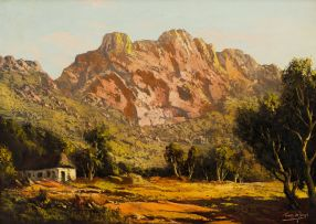 Tinus de Jongh; Farm Cottage and Mountains