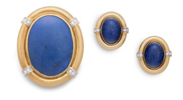 Pair of lapiz lazuli and diamond earrings