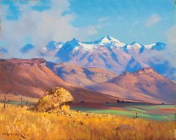 Willem Hermanus Coetzer; Landscape with Snow-capped Mountains