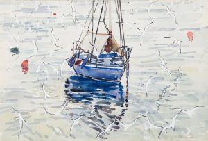 Richard Cheales; Blue Sailboat