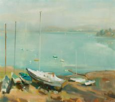 Clement Serneels; Yachts on the Shore