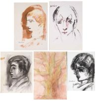 Carl Büchner; Four Portraits of Boys, and a Tree, five