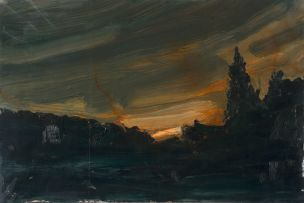 Hermann Niebuhr; Landscape at Dusk (Rivers Bend)