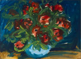 Gerhard Batha; Red Poppies in a Blue Vase