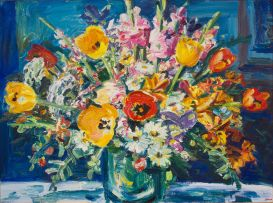 Gerhard Batha; Spring Flowers in a Vase