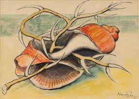 Johannes Meintjes; Still Life with Seashell and Branch