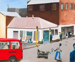Sam Nhlengethwa; Street Scene with Red Taxi