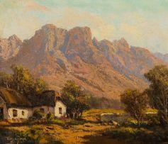 Tinus de Jongh; Farmstead near Mountains