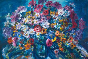 Gerhard Batha; Flowers in a Glass Vase