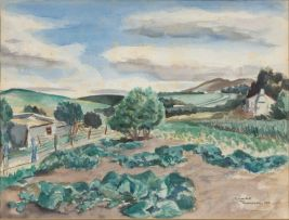 Peter Clarke; Vegetable Garden with Lemon Trees, Teslaarsdal
