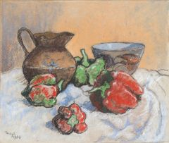 Conrad Theys; Still Life with Peppers, Bowl and Jug