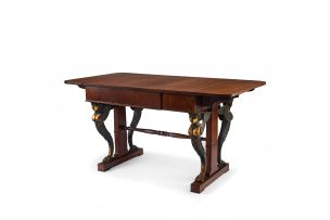 A Danish mahogany and inlaid sofa table, 19th century