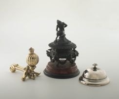 A bronze mounted marble inkstand, late 19th century