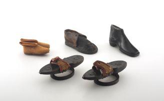 Three miniature leather boots, 19th century