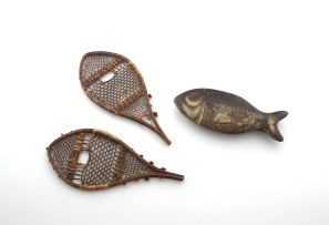 A pair of treen snow shoes, early 19th century