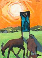 Peter Clarke; Goats Grazing Under a Winter's Sun