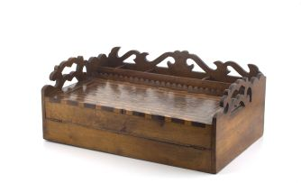 A Victorian walnut and fruitwood parquetry writing travelling desk, 19th century