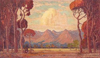 Jacob Hendrik Pierneef; A View of Mountains Through Trees