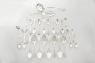 A miscellaneous silver Fiddle pattern part service, various makers, various towns, 1807-1885