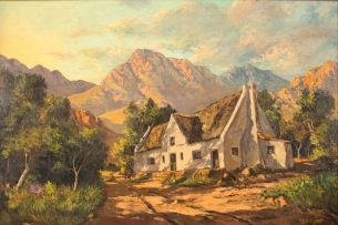Gabriel de Jongh; Thatched Roofed Cottage with Mountains Beyond