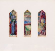 Maud Sumner; Madonna and Child; Three Stained Glass Panels, two
