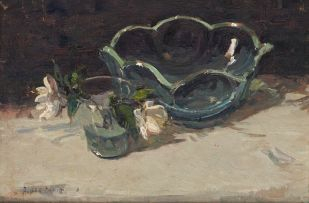 Adriaan Boshoff; Still Life with Glass Bowl and Flowers