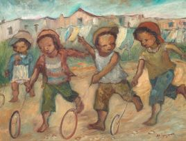 Amos Langdown; Children Playing with Hoops