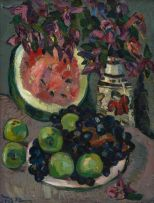 Irma Stern; Still Life with Watermelon, Flowers and Grapes