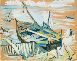Irma Stern; Boats on Zanzibar Beach