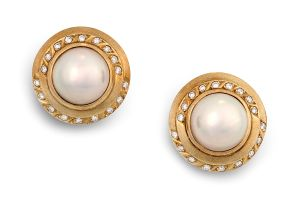 Pair of diamond and mabé pearl earrings
