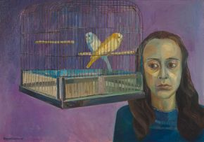 Alexander Podlashuc; Woman with Two Caged Budgerigars