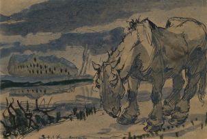Alfred Ost; Horse in a Landscape