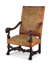 A walnut and upholstered armchair, 19th century