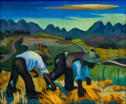 Maggie Laubser; Harvesters in Wheatfield
