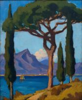 Maggie Laubser; Lake Scene with Trees and Mountains