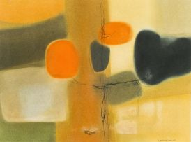 Jan Dingemans; Abstract in Orange and Black