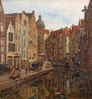 Frans Oerder; Canal View with the Basilica of St Nicholas, Amsterdam