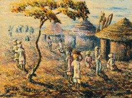 Mmakgabo Mmapula Helen Sebidi; The Village Scene near Pietersburg N. Tvl