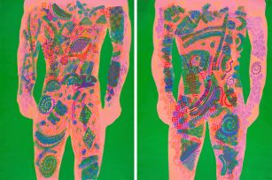 Andrew Verster; Male Silhouettes on Green Background, diptych