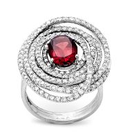 Diamond, rhodalite and gold dress ring