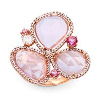 Rose quartz, pink sapphire and diamond ring