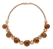 Citrine and rose gold necklace